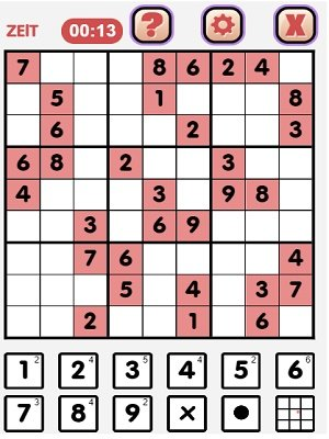 So sieht das Sudoku-Spielfeld aus
