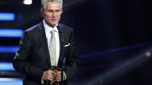 Former Bayern Munich coach Heynckes addresses audience  after receiving trophy for Sport during Bambi 2013 media awards ceremony in Berlin