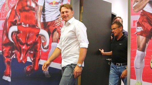 Trainer Ralph Hasenhüttl (l.) und Sportdirektor Ralf Rangnick sind die Väter des Leipziger Höhenfluges