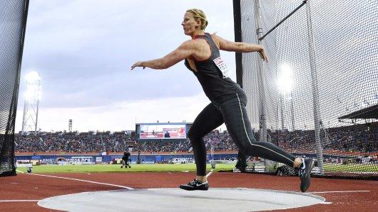 Julia Harting, damals noch Fischer, bei der EM in Amsterdam, wo sie mit dem Gewinn von Silber ihren bisher größten Erfolg feierte