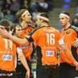 Die Volleys-Profis Tsimafei Zhukouski, Luke Perry, Robert Kromm Wouter ter Maat und Graham Vigrass