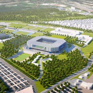 Hier könnte eine mögliche neue Hertha-Arena im Olympiapark (mittig) auf dem Gelände des jetzigen Olympiastadions (links) gebaut werden.