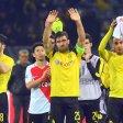 Nuri Sahin, Sokratis Papastathopoulos und Pierre-Emerick Aubameyang von Dortmund nach dem Hinspiel gegen Monaco (v.l.)