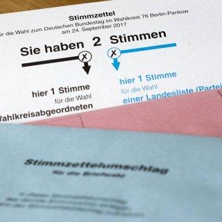Briefwahlunterlagen mit Stimmzettel zur Bundestagswahl am 24. September 2017